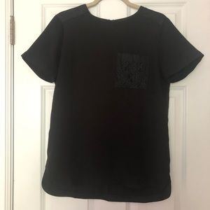 Ann Taylor black top with lace pocket